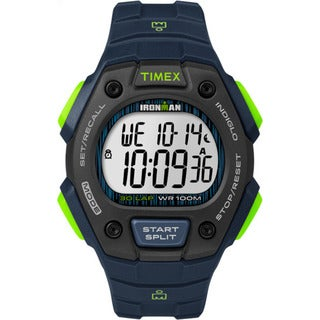Timex Men's TW5M11600 Ironman Classic 30 Blue/Lime/Black Resin Strap Watch