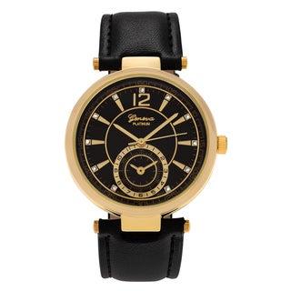 Geneva Platinum Women's Round Face Rhinestone Accent Dial Faux Leather Strap Watch