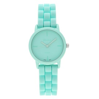 Geneva Platinum Women's Small Pastel Silicone Strap Watch