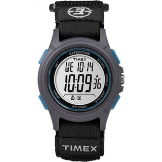 Timex Men's TW4B10100 Expedition Digital CAT Black, Grey and Blue Fast Wrap Velco Strap Watch