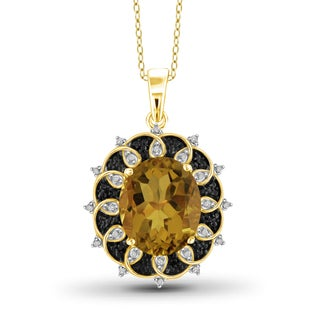 Jewelonfire Gold over Silver 1 1/2ct TW Whiskey and 1/10ct TDW Black Diamond Pendant