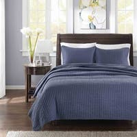Madison Park Jaxson Navy Quilted King/ Cal-King Size Coverlet Set (As Is Item)