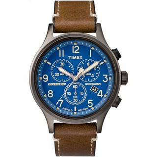 Timex Blue Stainless Steel and Brown Leather Men's Expedition Scout Chronograph Watch (Option: Blue)