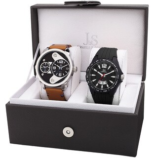 Joshua & Sons Men's Multifunction Dual Time Tachymeter Date Wheel Black & Tan Strap Watch Set