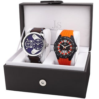 Joshua & Sons Men's Multifunction Dual Time Tachymeter Date Wheel Silver-Tone & Orange Strap Watch Set
