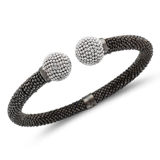 Unending Love Sterling Silver White Ball Black Mount Bangle