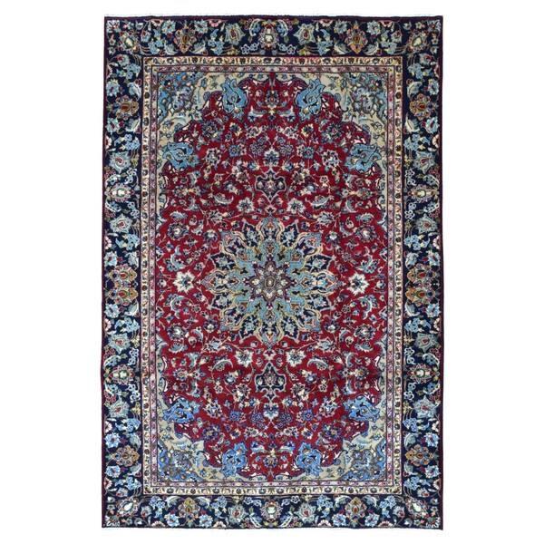 Semi Antique Handmade Isfahan Red Wool