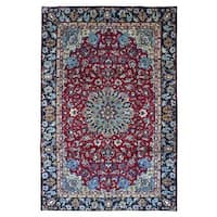 FineRugCollection semi-antique Handmade Isfahan Red Wool Oriental Rug (6'2 x 9'3)