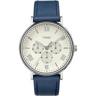 Timex Southview 41 Multifunction Blue/ White Leather Strap Watch