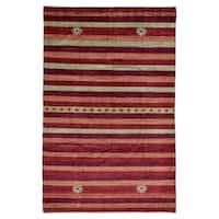FineRugCollection semi-antique Handmade Gabbeh Red Wool Oriental Rug (6'1 x 9'4)