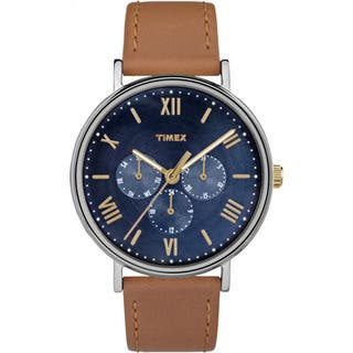 Timex Unisex TW2R29100 Southview 41 Multifunction Tan and Blue Leather Strap Watch|https://ak1.ostkcdn.com/images/products/14426161/P20993044.jpg?impolicy=medium