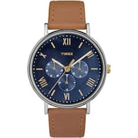 Timex Unisex TW2R29100 Southview 41 Multifunction Tan and Blue Leather Strap Watch