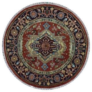 Fine Rug Collection Handmade Serapi Black Wool Oriental Round Rug (4'1 x 4'1)