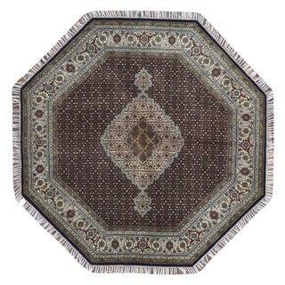 Fine Rug Collection Handmade Fine Mahi Tabriz w/ Silk Beige Wool Oriental Round Rug (6' x 6')