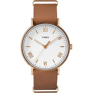 Timex Southview 41 Tan/Rose Gold-tone/White Leather Strap Watch