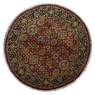 Fine Rug Collection Handmade Fine Kashan Red Wool Oriental Round Rug (5'10 x 5'10)