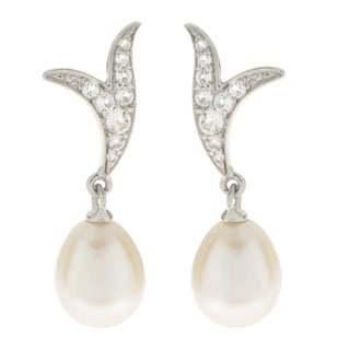 Pearls For You Sterling Silver White Freshwater Pearl and White Topaz Earrings (7.5-8mm)