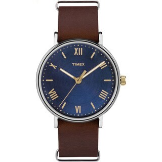 Timex Southview 41 Brown/Blue Leather Strap Watch