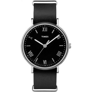 Timex Men's TW2R28600 Southview 41 Black and Silvertone Leather Strap Watch