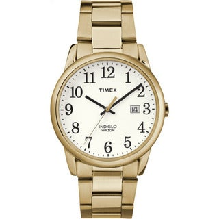 Timex Men's Stainless Steel TW2R23600 Easy Reader Gold-Tone/White Bracelet Watch