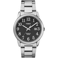 Timex Men's TW2R23400 Easy Reader Silvertone and Black Stainless Steel Bracelet Watch