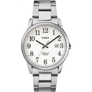 Timex Men's TW2R23300 Easy Reader Silvertone and White Stainless Steel Bracelet Watch