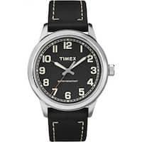 Timex Men's New England Black/Silver Leather Strap Watch