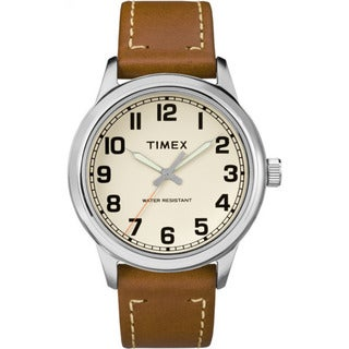 Timex Men's TW2R22700 New England Tan Cream Leather Strap Watch