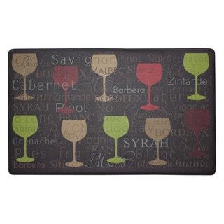 Chef Gear Wine Typography Anti-fatigue Gelness Kitchen Mat (20 in. x 32 in.)