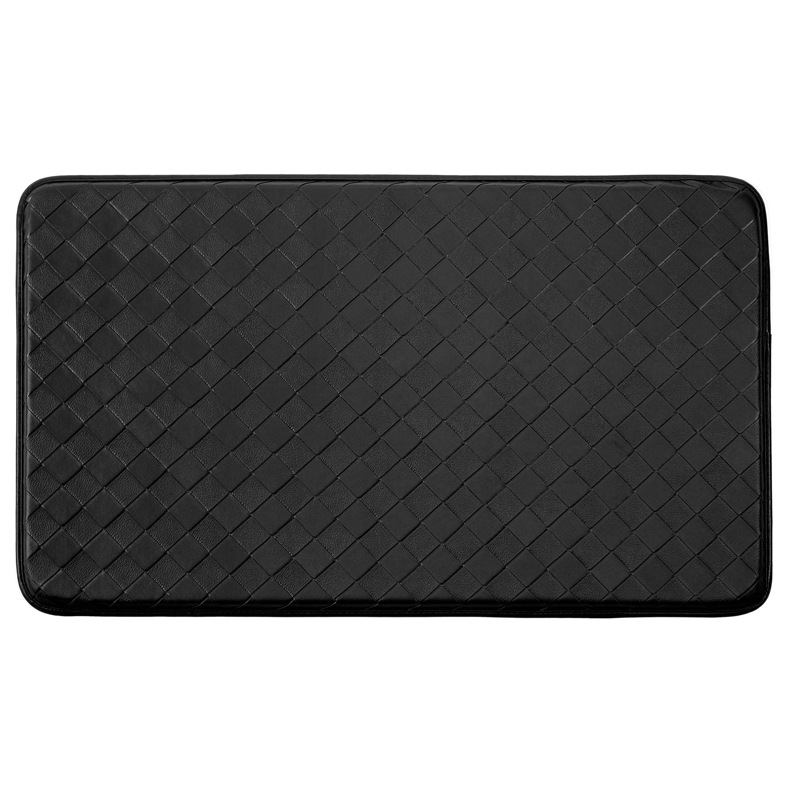 Chef Gear Faux Leather Black Diamond Weave Comfort Kitchen Mat 20 In X 32 In