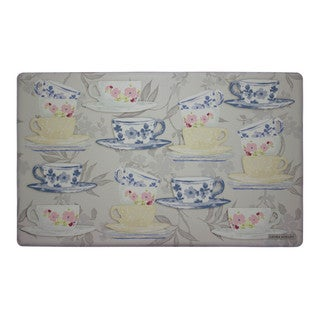 Laura Ashley Tea Party Anti-fatigue Gelness Kitchen Mat (20 in. x 32 in.) (Option: Taupe)