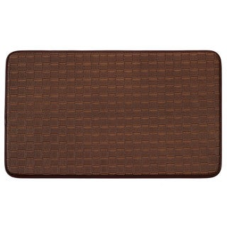 Chef Gear Faux-Leather Mocha Basket Weave Comfort Kitchen Mat (20 in. x 32 in.)