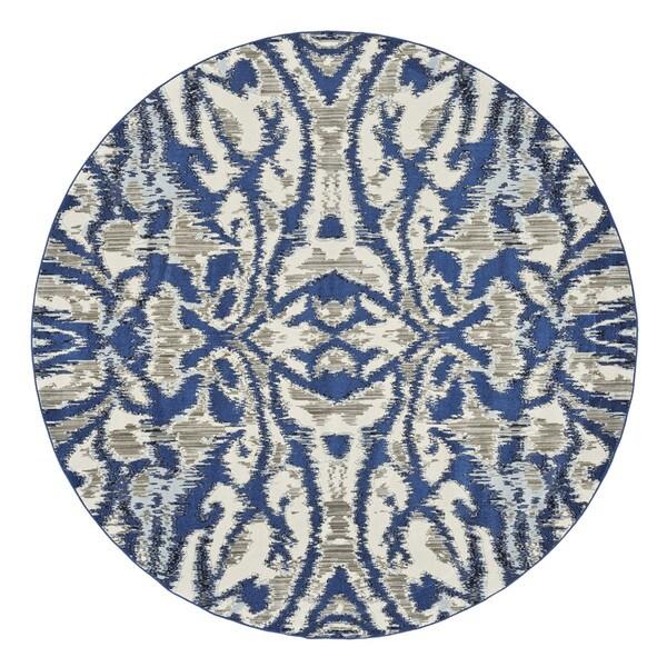 "Grand Bazaar Carini Blue Haze Round Area Rug (8'9"" x 8'9"") - 8'6"" x 8'6"""