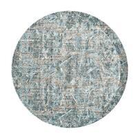 """Grand Bazaar Arsene Aqua Round Area Rug (8'9"""" x 8'9"""") - 8'6"""" x 8'6"""""""