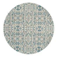 "Grand Bazaar Arsene Turquoise Round Area Rug (8'9"" x 8'9"") - 8'6"" x 8'6"""