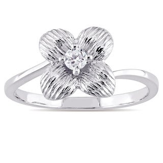Miadora 10k White Gold 1/10ct TDW Diamond Textured Four-Petal Flower Ring
