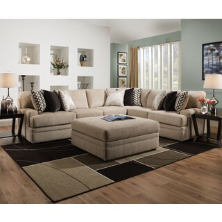 Simmons Upholstery Bellamy Putty Sectional with ottoman