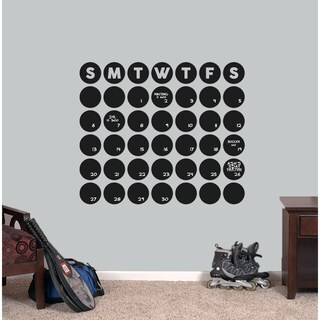 Chalkboard Circle Calendar 30 x 25.5 Wall Decal