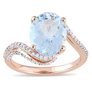 Miadora Signature Collection 14k Rose Gold Oval-Cut Aquamarine and 1/3ct TDW Diamond Bypass Ring (G-H, I1)