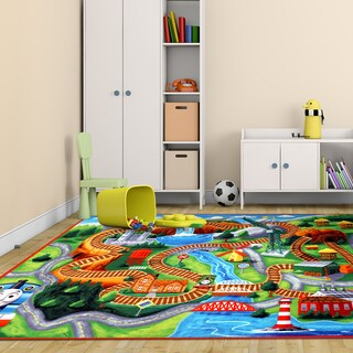 HiT Thomas the Tank Engine Multicolor Polyester Kids Rug by Gertmenian (5'4 x 7'4)
