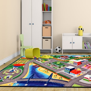 Link to Nickelodeon Paw Patrol Multicolor Polyester Kids Rug by Gertmenian (4'6 x 6'6) - 4'6 X 6'6 Similar Items in Casual Rugs