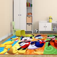 Disney Mickey Mouse Multicolor Polyester Kids Rug by Gertmenian - 4'6 x 6'6