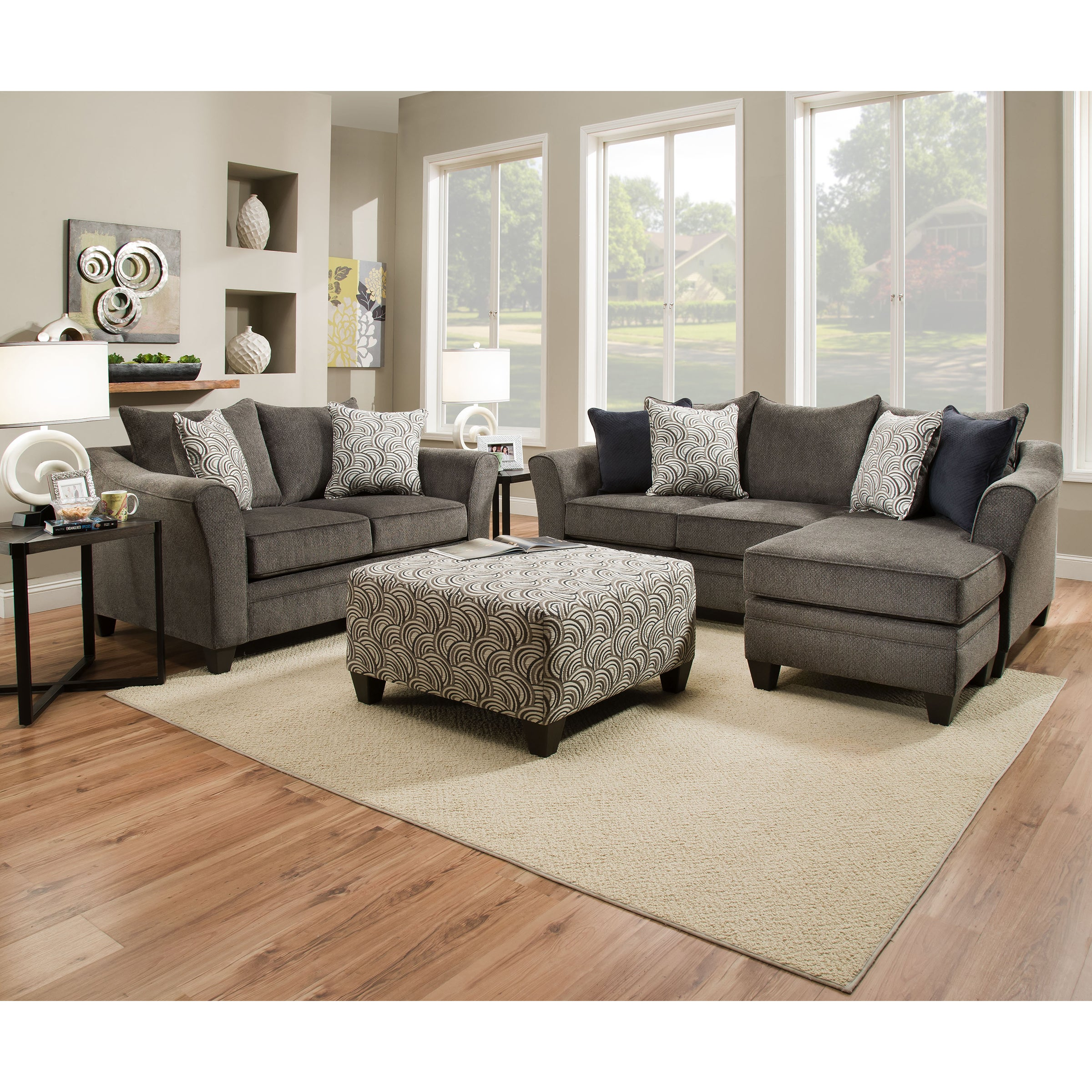 Simmons Upholstery Albany Pewter Sofa Chaise (2 Piece Sof...