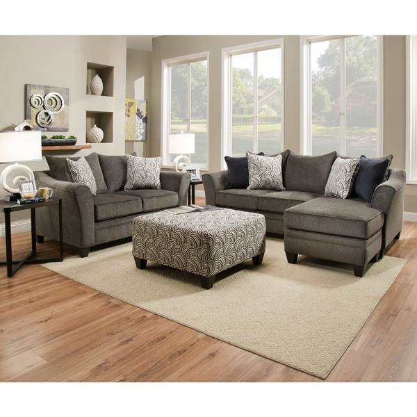 Shop Simmons Upholstery Albany Pewter Sofa Chaise Free