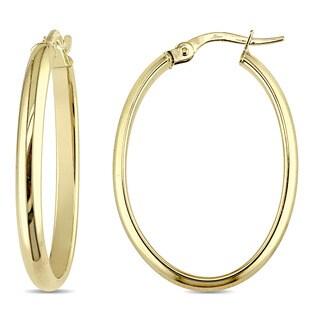 Miadora 10k Yellow Gold Oval-Shaped Clip-On Hoop Earrings