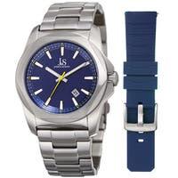 Joshua & Sons Men's Date Hexagon Beveled Case Interchangeable Silver-Tone Bracelet Blue Strap Watch