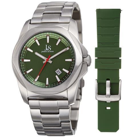 Joshua & Sons Men's Date Hexagon Beveled Case Interchangeable Silver-Tone Bracelet Green Strap Watch
