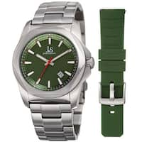 Joshua & Sons Men's Date Hexagon Beveled Case Interchangeable Silver-Tone Bracelet Green Strap Watch
