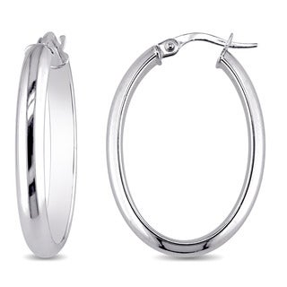 Miadora 10k White Gold Oval-Shaped Clip-On Hoop Earrings