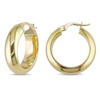Miadora 10k Yellow Gold Clip-On Saddleback Hoop Earrings